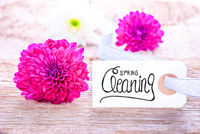 Label With Calligraphy Spring Cleaning, Purple Flower Blossom