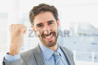 Businessman celebrating a good job
