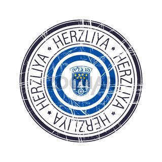 City of Herzliya, Israel vector stamp