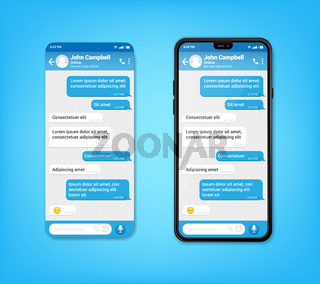 UI UX Phone chat blue interface. Text message mobile phone. Text messaging bubles in mobile application on a smartphone, vector