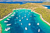 Aerial panoramic view of Palmizana, sailing cove and turquoise beach on Pakleni Otoci islands