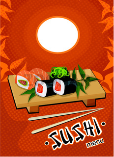 sushi menu template - vector drawing