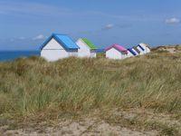 Standhütten in den Dünen von Gouville-sur-Mer, Normandie