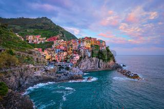 Manarola village on sunset, Cinque Terre, Liguria, Italy