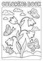 Coloring book bellflower and butterflies