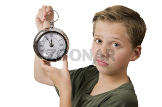Disgruntled look with clock