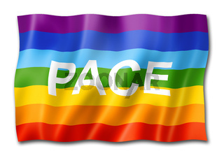 Rainbow peace / pace flag isolated on white