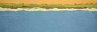 blue lake abstract landscape created with handmade Indian paper