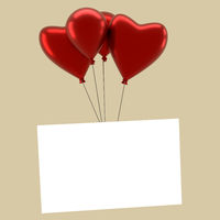 Shiny balloons with a blank card on a vintage color stylized background