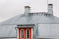 Metal zinc roofing on house in Finland
