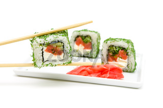 Japanese cuisine - rolls on a white background close-up