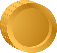 Gold coin. Vector illustration isolated on white background.