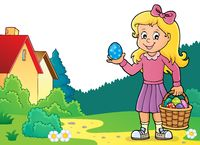 Girl with Easter eggs theme image 3