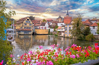 Bamberg. Scenic view of Old Town of Bamberg with bridges over the Regnitz river