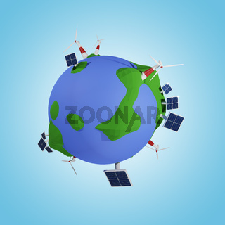 Alternative energy concept with sun power and wind energy, 3d rendering low poly world