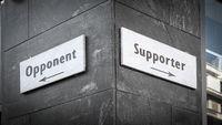 Street Sign Supporter versus Opponent