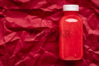 Fresh berry juice in eco-friendly recyclable plastic bottle and packaging, healthy drink and food product