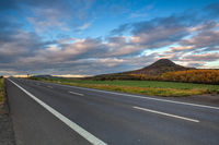 On the empty road in Central Bohemian Highlands, Czech Republic.