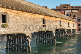 Historische Holzbrücke über den Rhein zwischen Diessenhofen und Gailingen