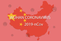 Chinese Novel coronavirus - 2019-nCoV or WUHAN virus concept with CORONAVIRUS text on Chinese map with red background.