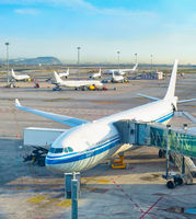 Telescopic gangway, airplane, airfield, airport