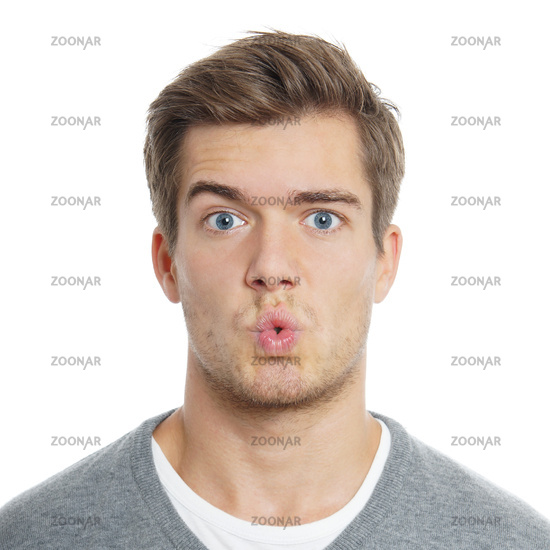 young man with funny facial expression