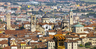View of the city of Bergamo in Lombardy Italy from the old town of La Citta Alta