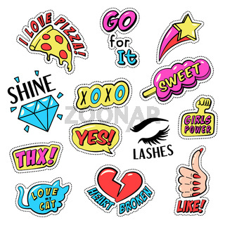 Set of colorful retro style stickers, badges with text