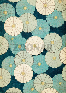 Happy flowers on blue background retro design