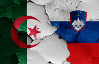 flags of Algeria and Slovenia painted on cracked wall