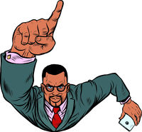 African businessman with a smartphone index finger up. Flying like a superhero