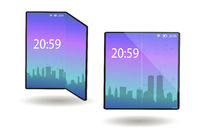 Foldable phone, smartphone with a flexible screen in the folded and unfolded position. A tablet device with a bent display, modern technology. Vector illustration