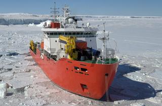 Icebreaker ship in the sea of Antarctic