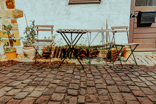 garden furniture outside a house