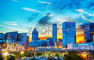 Downtown Atlanta at night time