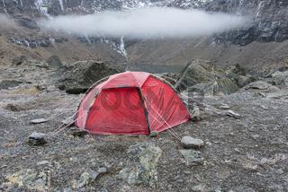 Zelt am See Trollsjoen, Lappland