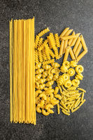 Various types of raw italian pasta.
