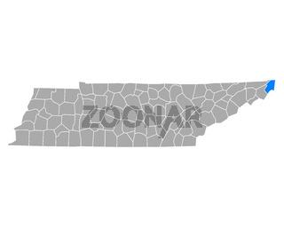 Karte von Johnson in Tennessee - Map of Johnson in Tennessee