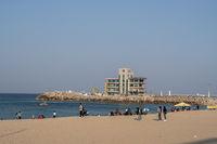 Tourists along Anmok Beach