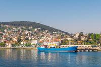 View of Heybeliada island from the sea with summer houses, Sea of Marmara, near Istanbul, Turkey