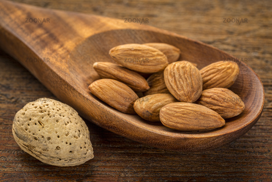 almond nuts on a wooden spoon
