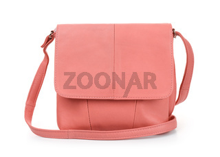 Front view of coral leather handbag
