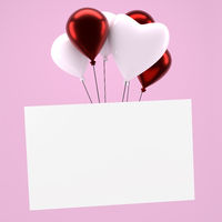 Shiny balloons with a blank card on pink