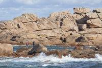 Cote de Granit Rose Rocks with people