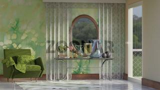 Zimmer mit Sessel, Tisch, Deko und Ausblick in den Garten