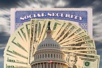 Flag flies in front of Capitol in DC with cash and social security card to illustrate funding issues for retirement