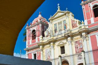 The baroque El Calvario Church facade, located in Leon, Nicaragua