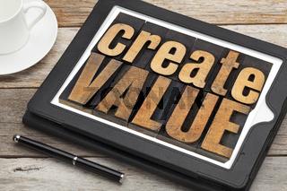 create value on digital tablet