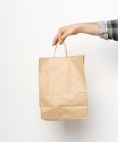 Man hand in plaid shirt twisted sleeve hand holding brown paper bag isolated on white background. Delivery concept. Paper bag for takeaway food. Delivery carrying