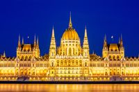 Night view of the illuminated building of the hungarian parliament in Budapest